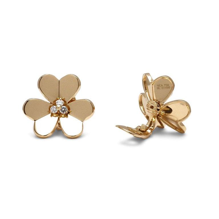 Women's or Men's Van Cleef & Arpels 'Frivole' Yellow Gold Diamond Earrings, Large Model For Sale