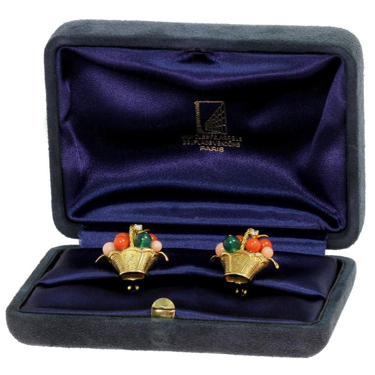 Van Cleef & Arpels Gemstone Bead Diamond Yellow Gold Basket Earrings  In Good Condition For Sale In New York, NY