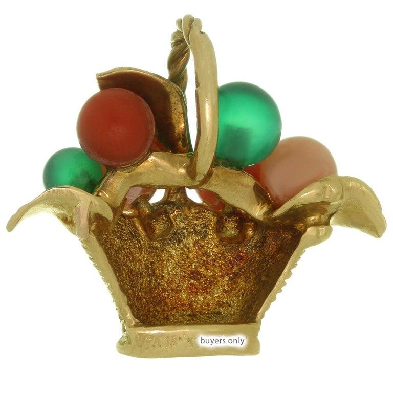 Women's Van Cleef & Arpels Gemstone Bead Yellow Gold Flower Basket Pendant