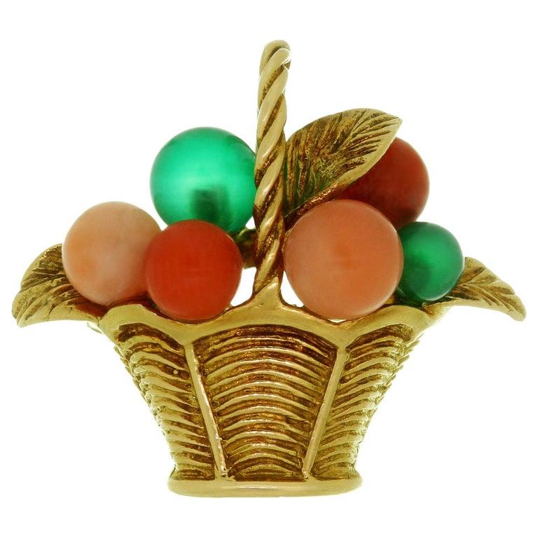 Van Cleef & Arpels Gemstone Bead Yellow Gold Flower Basket Pendant