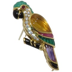 Van Cleef & Arpels Gemstone Diamond Yellow Gold Parrot Pin Brooch