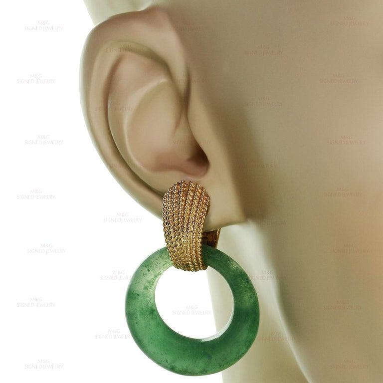 Van Cleef & Arpels Gemstone Interchangeable Yellow Gold Door Knocker Earrings In Good Condition For Sale In New York, NY