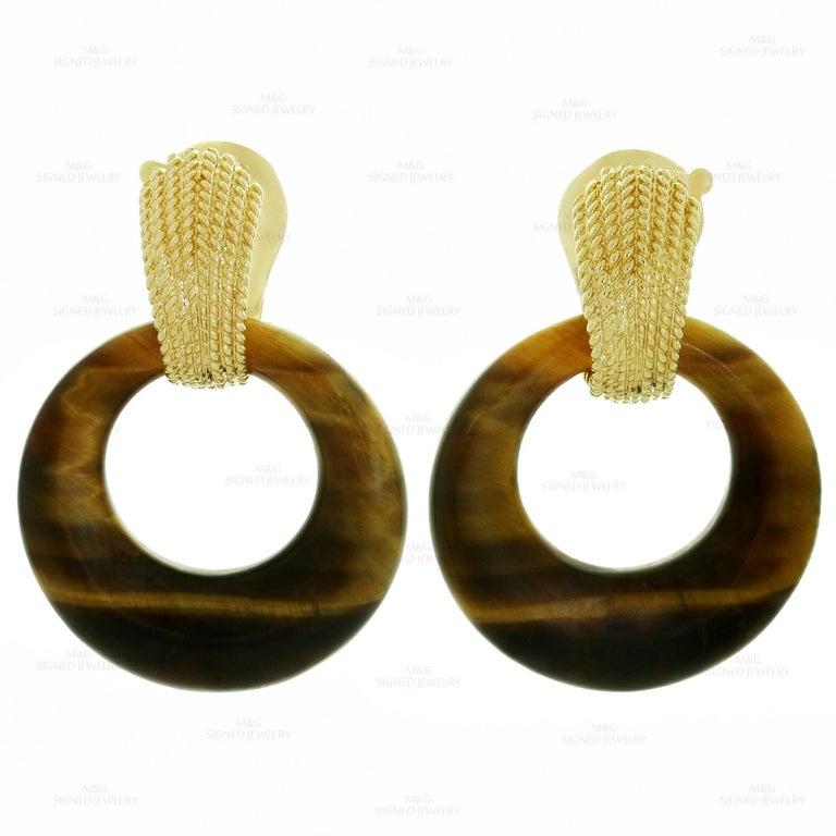 Van Cleef & Arpels Gemstone Interchangeable Yellow Gold Door Knocker Earrings For Sale 1