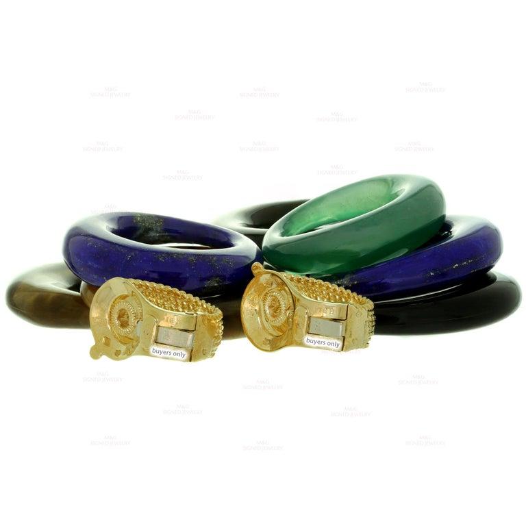 Van Cleef & Arpels Gemstone Interchangeable Yellow Gold Door Knocker Earrings For Sale 2