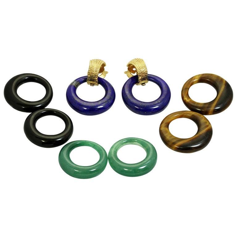 Van Cleef & Arpels Gemstone Interchangeable Yellow Gold Door Knocker Earrings For Sale