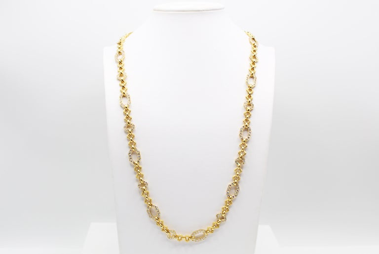 Van Cleef & Arpels Geometric Link Convertible Yellow Gold Diamond Necklace In Excellent Condition In New York, NY