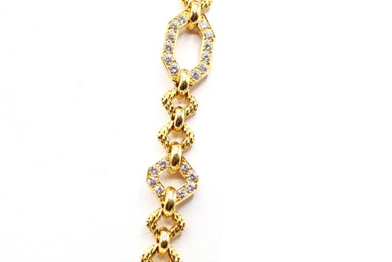 Women's or Men's Van Cleef & Arpels Geometric Link Convertible Yellow Gold Diamond Necklace