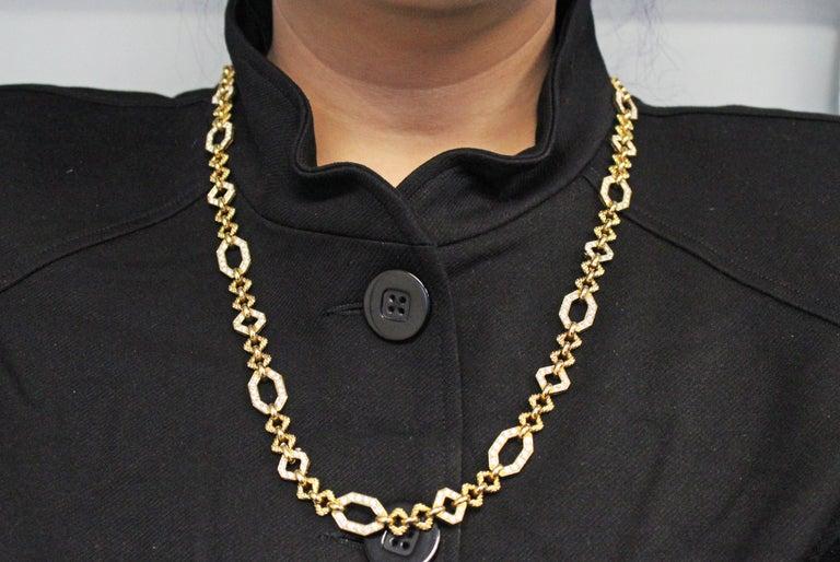 Van Cleef & Arpels Geometric Link Convertible Yellow Gold Diamond Necklace 4