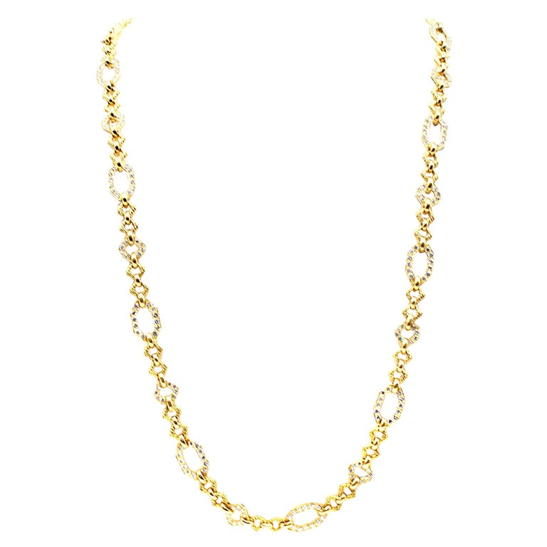 Van Cleef & Arpels Geometric Link Convertible Yellow Gold Diamond Necklace