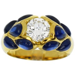 Van Cleef & Arpels GIA Certified 1.07 Carat Diamond Sapphire 18 Karat Gold Ring