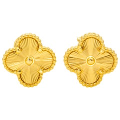 Van Cleef & Arpels Gold Alhambra Earrings 18 Karat Yellow Gold