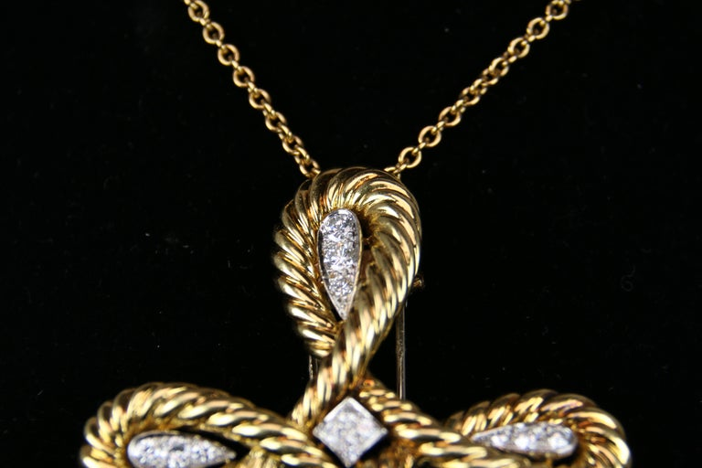 Modern Van Cleef & Arpels Gold and Diamond Cross For Sale