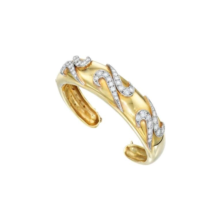 Van Cleef & Arpels Gold and Diamond Cuff-Bracelet