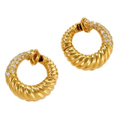 Van Cleef & Arpels Gold and Diamond Hoop Earrings