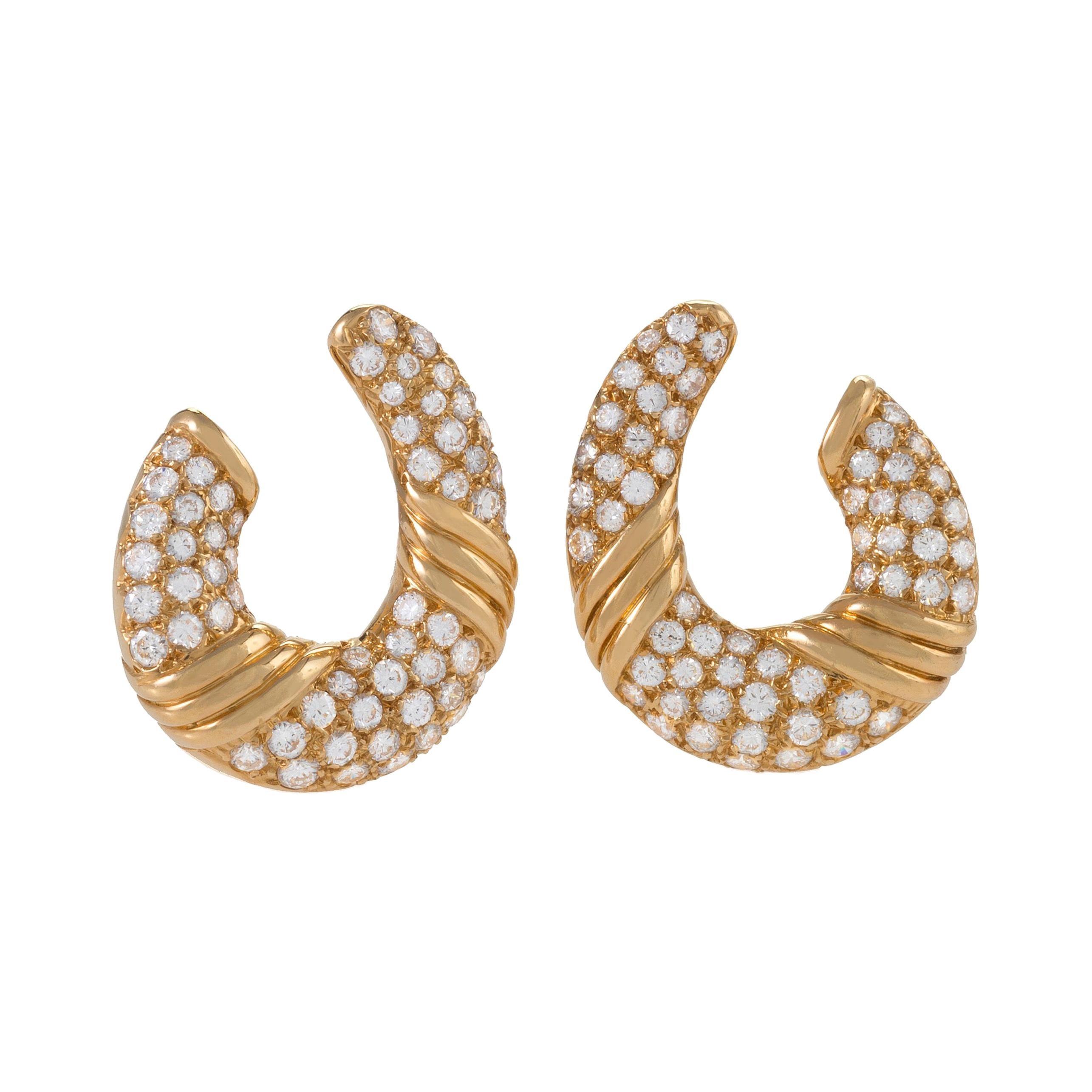 Van Cleef & Arpels Gold and Diamond Hoop Earrings