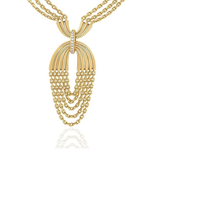 A French 18 karat gold pendant necklace with diamonds by Van Cleef & Arpels, Paris. The necklace is composed of triple bar links joined by multiple strands of oval trace link chains, highlighted by arched bars set with 35 round brilliant-cut
