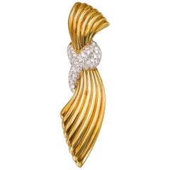 Van Cleef & Arpels Gold and Diamond Retro Brooch