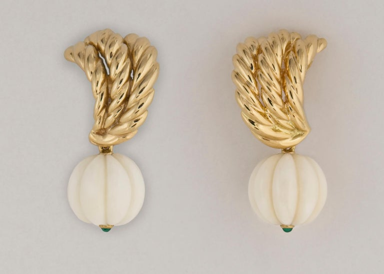 Contemporary Van Cleef & Arpels Gold Coral and Chrysophase Earrings For Sale