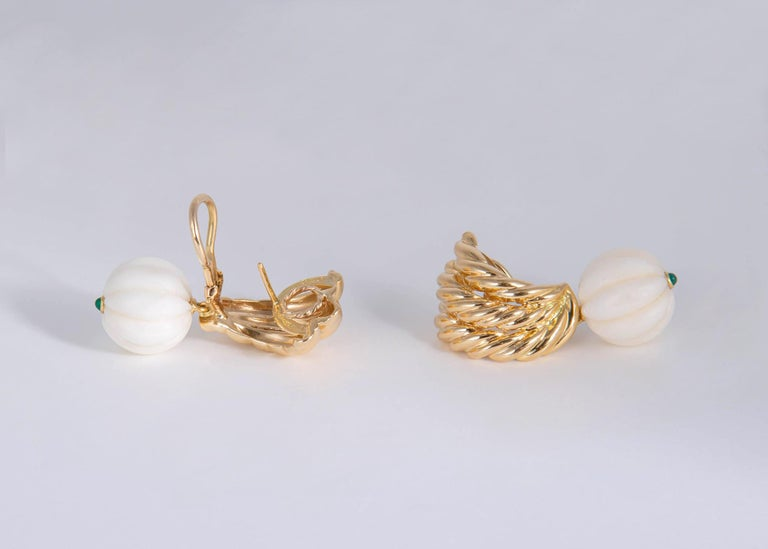 Bead Van Cleef & Arpels Gold Coral and Chrysophase Earrings For Sale