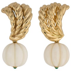 Van Cleef & Arpels Gold Coral and Chrysophase Earrings