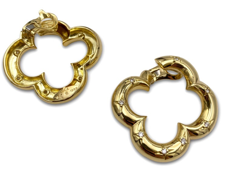 Van Cleef & Arpels Gold Diamond Alhambra Earrings In Excellent Condition For Sale In New York, NY