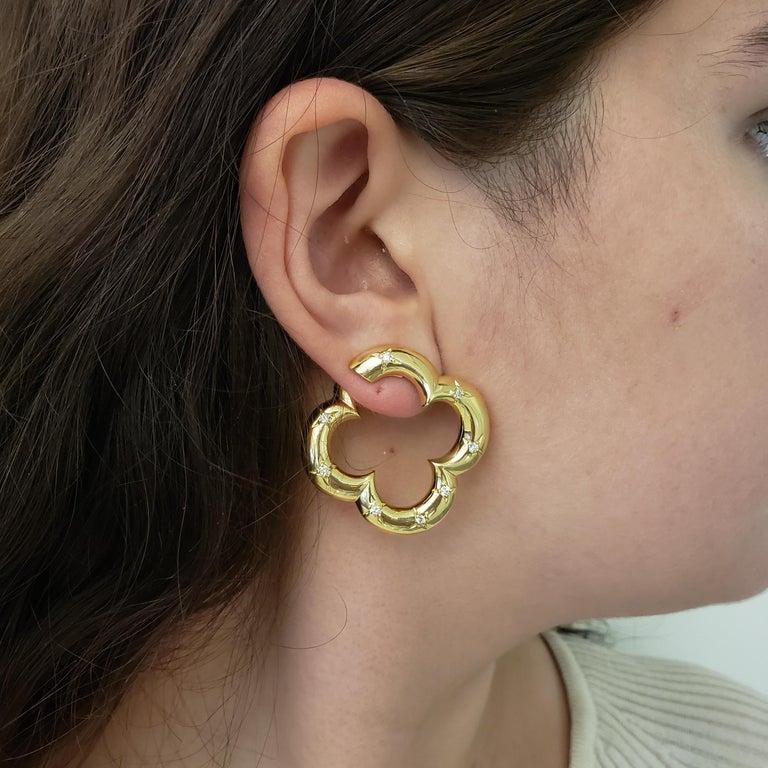 Van Cleef & Arpels Gold Diamond Alhambra Earrings For Sale 2