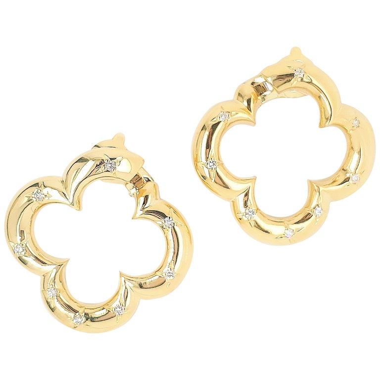 Van Cleef & Arpels Gold Diamond Alhambra Earrings For Sale