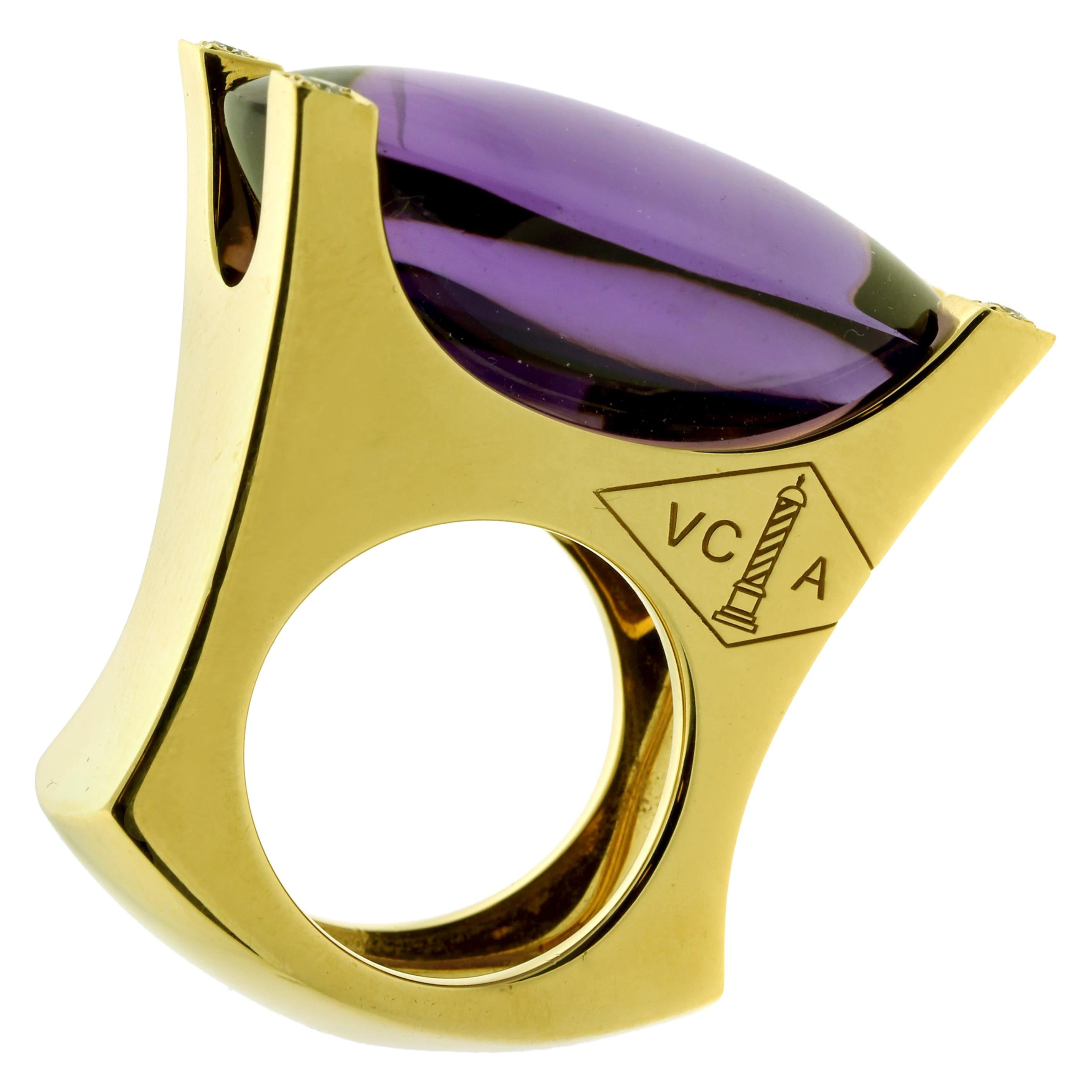 Van Cleef & Arpels Gold Diamond and Amethyst Ring