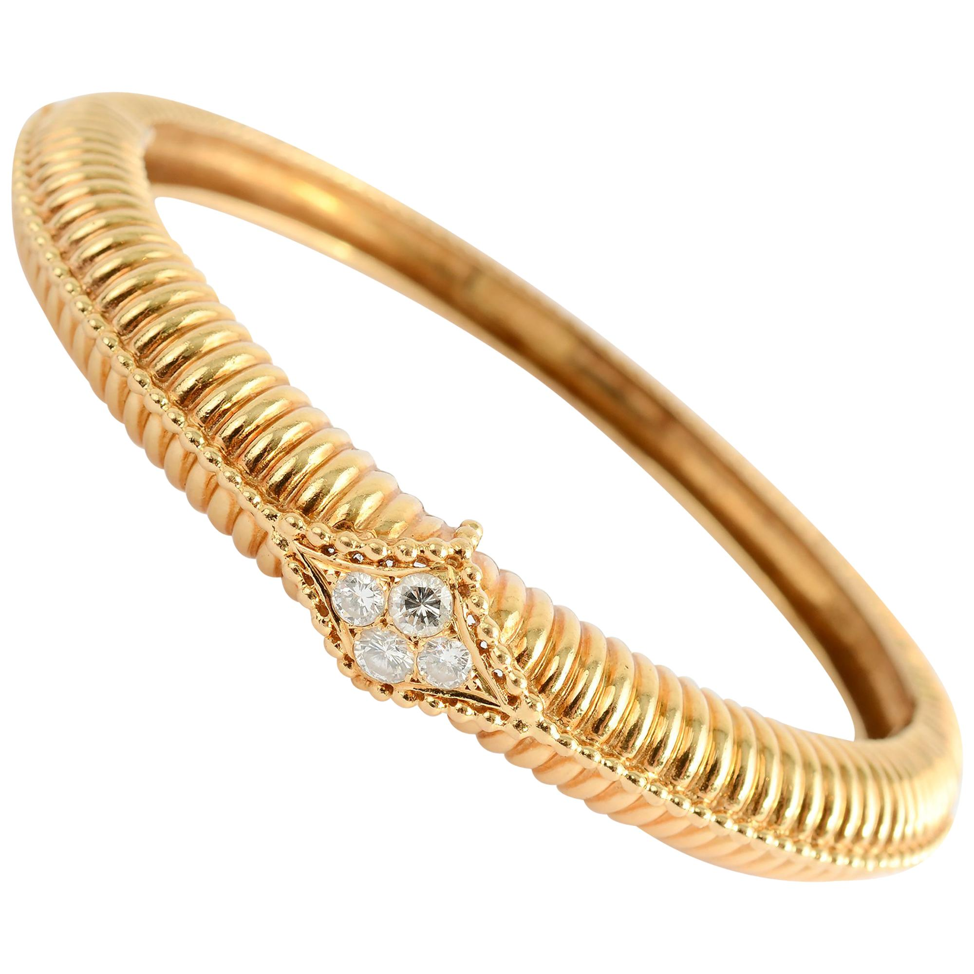 Van Cleef & Arpels Gold Diamond Bangle Bracelet