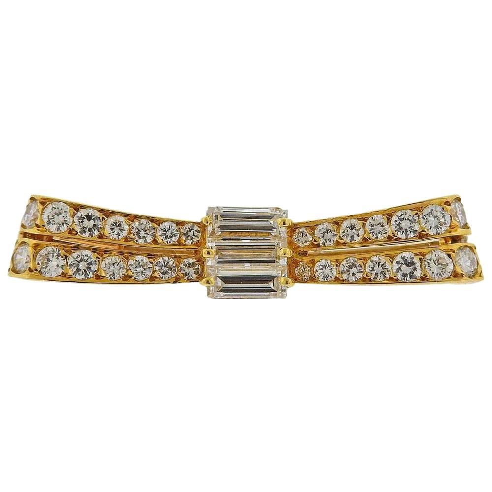 Van Cleef & Arpels Gold Diamond Bow Brooch