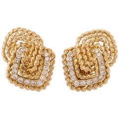 Van Cleef & Arpels Gold Diamond Earclips