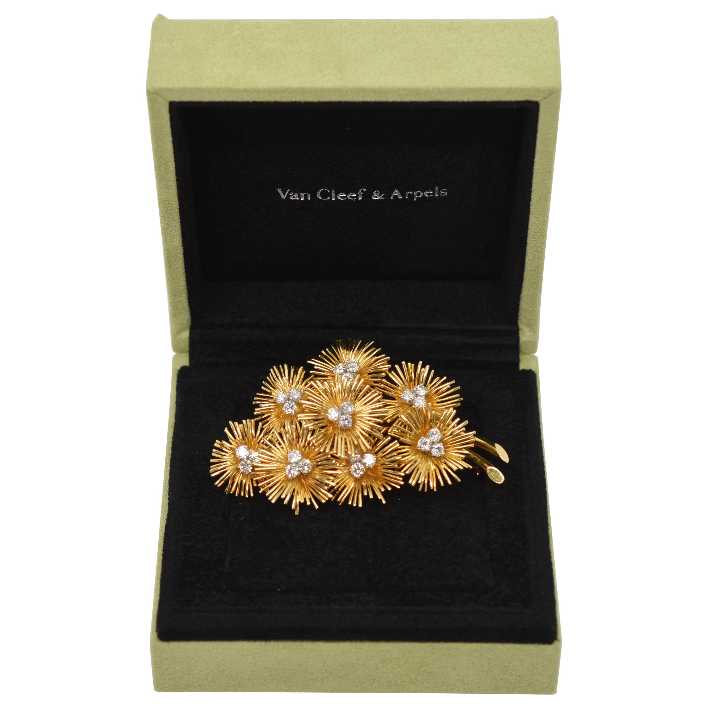 Van Cleef & Arpels Gold Diamond Floral Burst Brooch