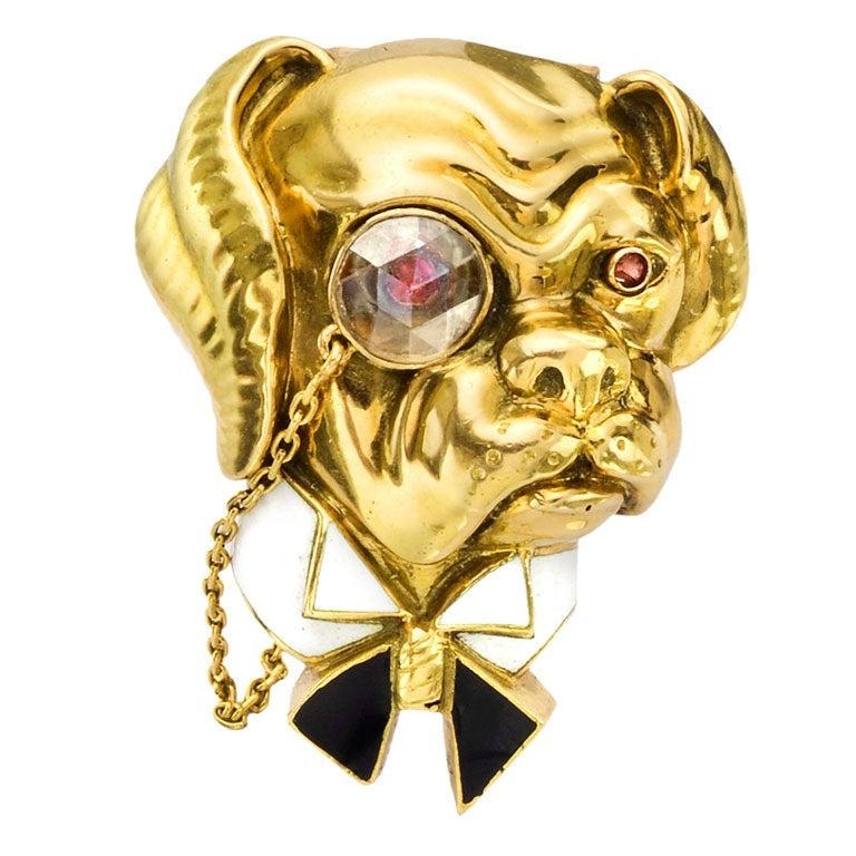 VAN CLEEF & ARPELS Gold, Enamel & Diamond Bulldog Pin 1
