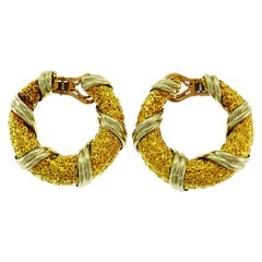 Van Cleef & Arpels Gold Hoop Earrings Vintage Clip-On