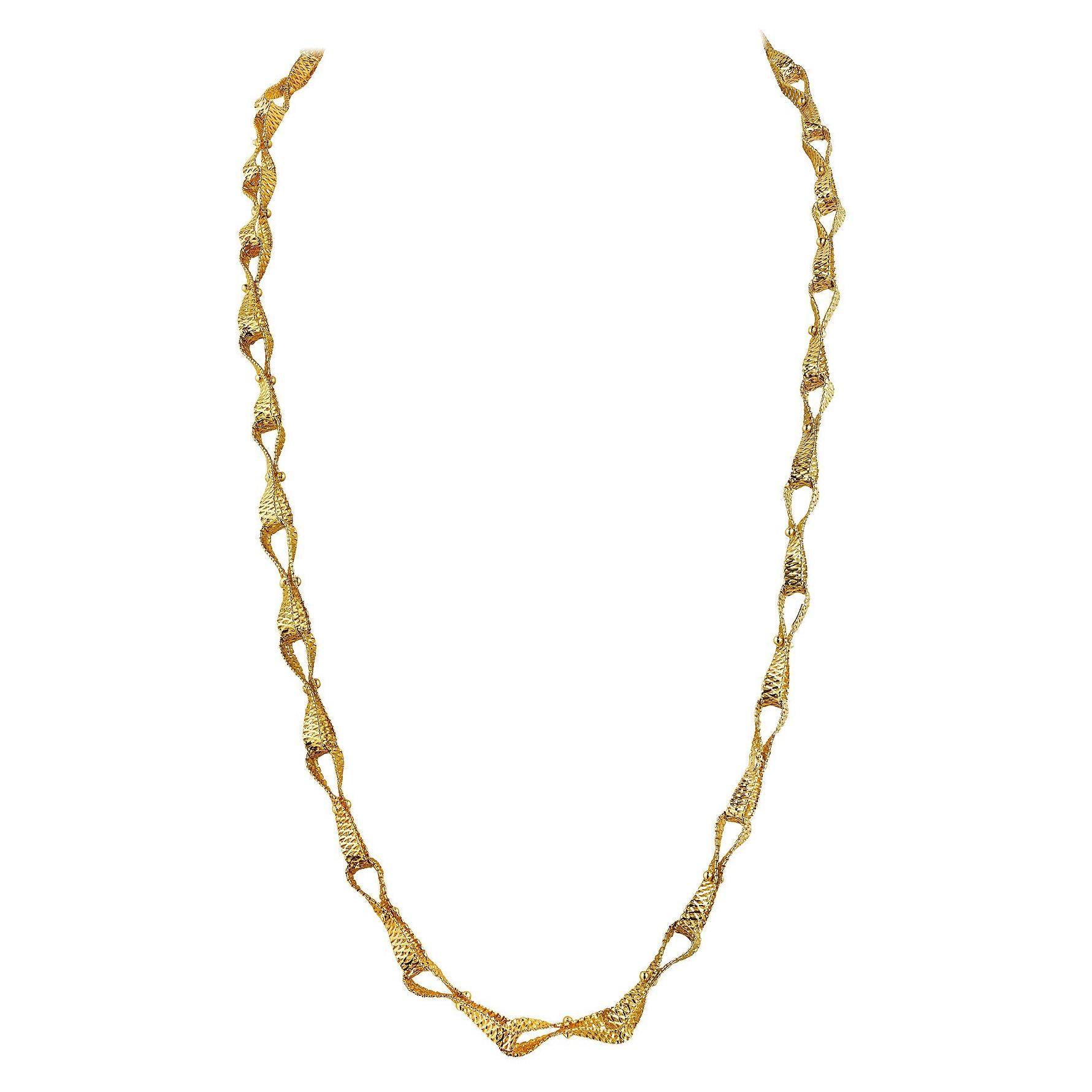 Van Cleef & Arpels Gold Ribbon Link Necklace