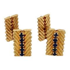 Van Cleef & Arpels Gold Sapphire Cufflinks