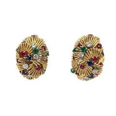 Van Cleef & Arpels Gold Sapphire Ruby Emerald Diamond Clip-On Earrings
