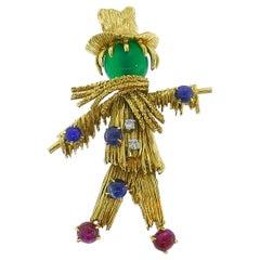 Van Cleef & Arpels Gold Scarecrow Brooch Pin Clip Gemstones Vintage