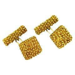 Van Cleef & Arpels Gold Textured Cufflinks