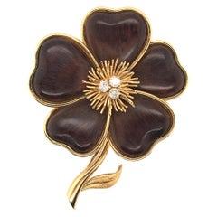 Van Cleef & Arpels Gold, Wood and Diamond Nerval Brooch