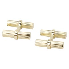 Van Cleef & Arpels Groved Baton Men's Cufflinks in 14 Karat Yellow Gold