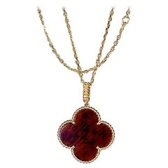 Van Cleef & Arpels Hard Wood Magic Alhambra Pendant Necklace