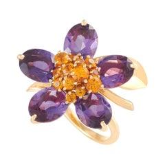 Van Cleef & Arpels Hawaii 18k Yellow Gold Amethyst and Citrine Flower Ring