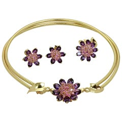 Van Cleef & Arpels Hawaii Amethyst and Pink Sapphire Yellow Gold Convertible Set