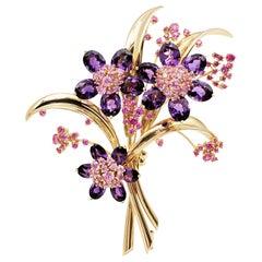 Van Cleef & Arpels 'Hawaii Bouquet' Pink Sapphire and Amethyst Brooch