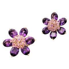 Van Cleef & Arpels 'Hawaii' Pink Sapphire and Amethyst Earrings