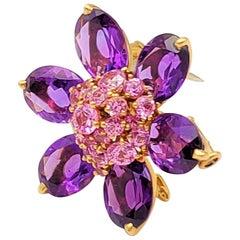 Van Cleef & Arpels 'Hawaii' Pink Sapphire and Amethyst Pendant Brooch
