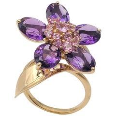 Van Cleef & Arpels 'Hawaii' Pink Sapphire and Amethyst Ring