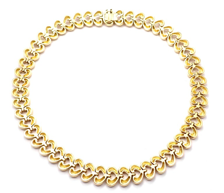 18k Yellow Gold Heart Link Choker Necklace by Van Cleef & Arpels.  Details:  Necklace Length: 15