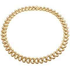 Van Cleef & Arpels Heart Link Choker Yellow Gold Necklace